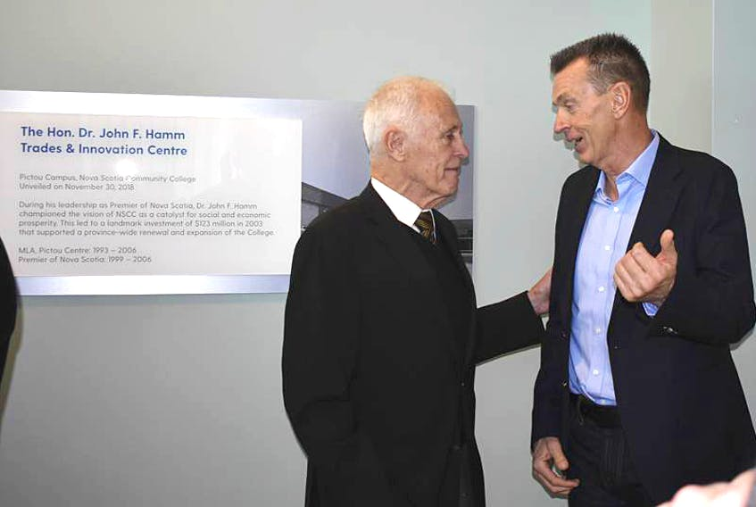 Former Premier Dr. John Hamm speaks with former NSCC President Ray Ivany following an announcement that the NSCC Pictou Campus in Stellarton would be naming its new Trades and Innovation Centre in honour of Hamm. In 2003 Hamm was premier and Ivany was NSCC's president. That year the province announced it would invest $123 million into the NSCC.