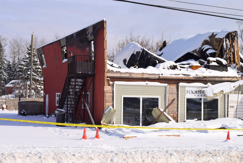 The burned-out remains of the Skylyn Bridal Boutique in Brookfield are scheduled to be demolished this week.