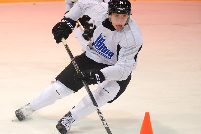Jared McIsaac, from Truro and a member of the Halifax Mooseheads, runs a drill Monday in Charlottetown in preparation for tonight's game five of the CIBC Canada Russia Series.