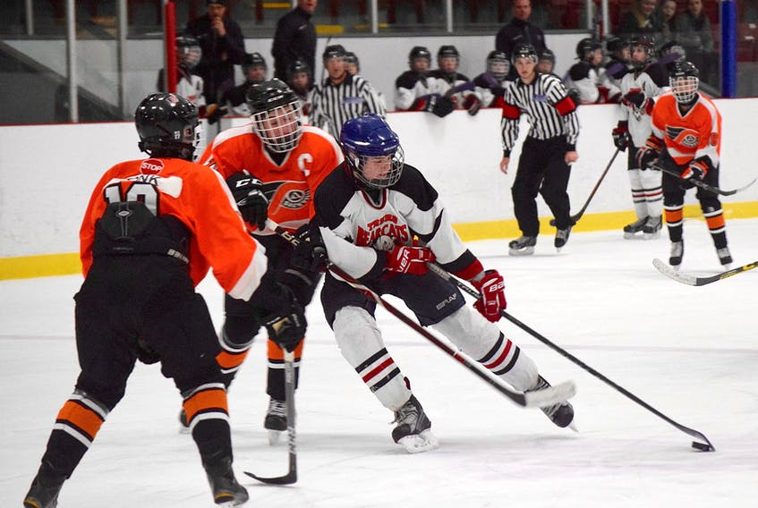 The Bantom AA Sackville Flyers took out the Bantom AA Truro Bearcats 4-2 Wednesday in their first game of the annual Mike Schmitt Memorial Hockey Tournament at Colchester Legion Stadium. The tournament runs from until Dec. 30 at Colchester County arenas in Truro, Debert and Brookfield.