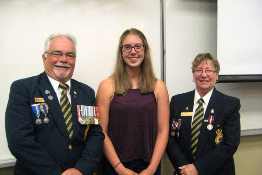 Tantramar Regional High School student Rebecca Long recently attended the Royal Canadian Legion Provincial Command's Youth Leadership Camp. The camp is held annually at Mount Allison University. Pictured, left to right, are Royal Canadian Legion Westmorland Albert district commander Sonny McCarron, Long and Royal Canadian Legion Branch 26 Sackville president Doreen Richards. PHOTO SUBMITTED
