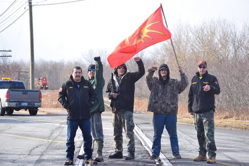 First Nations anti-pipeline protestors blockaded the level crossing on Willow St. in Truro on Feb. 28. They were protesting in support of the Wet'suwet'en First Nation in British Columbia. From left, Vinny Toney, William Clair, James Pictou, Billy McDonald and Toby Condo. FRAM DINSHAW/TRURO NEWS