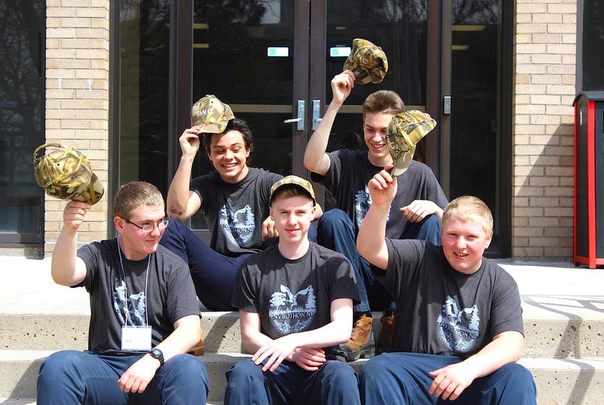Tantramar High's winning team includes, back, l-r, Joe Caswell, Casey Murray, and front row, l-r, Isaac Ayer, Oliver Priemer, and Isaiah Ayer.