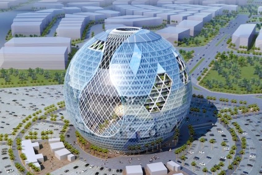 The concept of this iconic building for the Technopark of Dubai, is a building which will reflect the state of Planet Earth in the current and future times.  Courtesy of James Law Cybertecture
