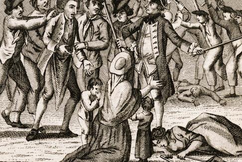 The Press Gang, 1770 (artist unknown). - Walpole Library, Yale University.