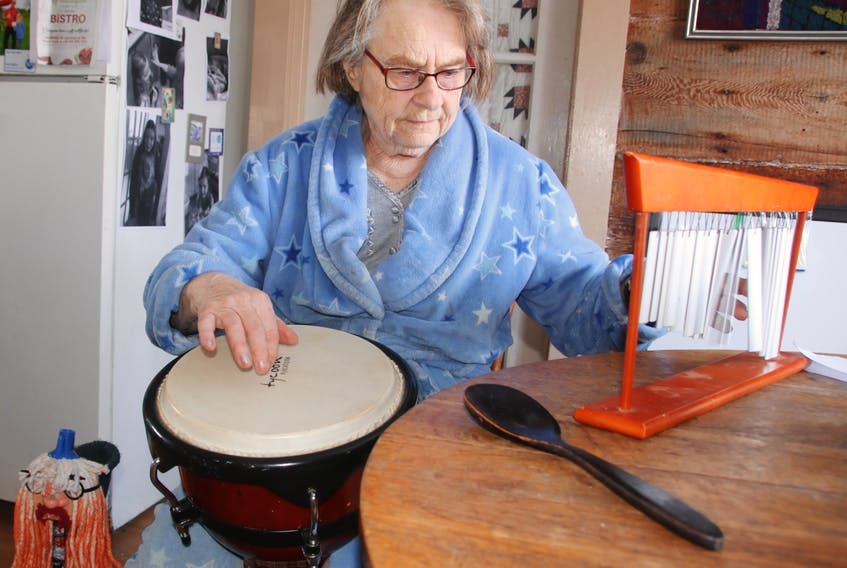 Beth Saunders believes playing music helps her health in many ways. She plays the African drum, chime and Newfoundland ugly stick.