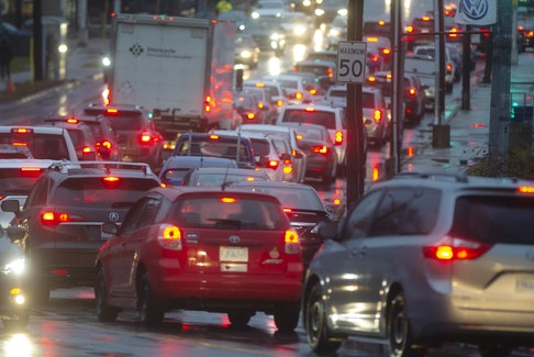 Traffic is moving along even more slowly than normal during the morning rush hour in the Halifax area on Tuesday, Dec. 10, 2019, because of a storm that's brought high winds and plenty of rain to Nova Scotia. Several traffic lights are out, causing major delays.