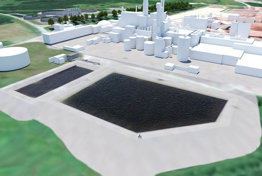 An artist's drawing provided by Northern Pulp shows its proposed effluent treatment plant that would replace its Boat Harbour facility.