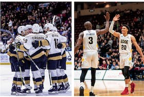 The Newfoundland Growlers and St. John's Edge were expecting to be able to celebrate some more wins at Mile One Centre during their 2019-20 seasons, but that might not happen with the announcements by their respective leagues, the ECHL and NBLC, that they were suspending play indefinitely because of the coronavirus pandemic. — Newfoundland Growlers photo/Jeff Parsons; St. John's Edge photo/Ryan MacLellan