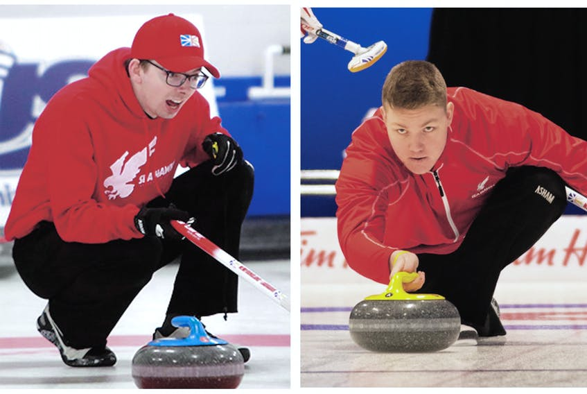 Memorial Sea-Hawks Daniel Bruce (left) and Ryan McNeil Lamswood are making return trips to the U Sports national university curling championships as part of what has been a busy 2019-20 season for the pair. Bruce and McNeil, who are joined by Ben Stringer and fellow U Sports returnee Greg Blyde at the U Sports competition, were part of the Newfoundland and Labrador entry that finished as runner-up at the Canadian junior men's championship last month in British Columbia. — Photo via Memorial Athletics