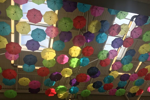 Should you reach for an umbrella if there is a 30 per cent chance of rain?  I guess that depends on who you ask. I came across this lovely display of umbrellas hanging from the ceiling at The Village Shopping Centre in St John's N.L. earlier this month.