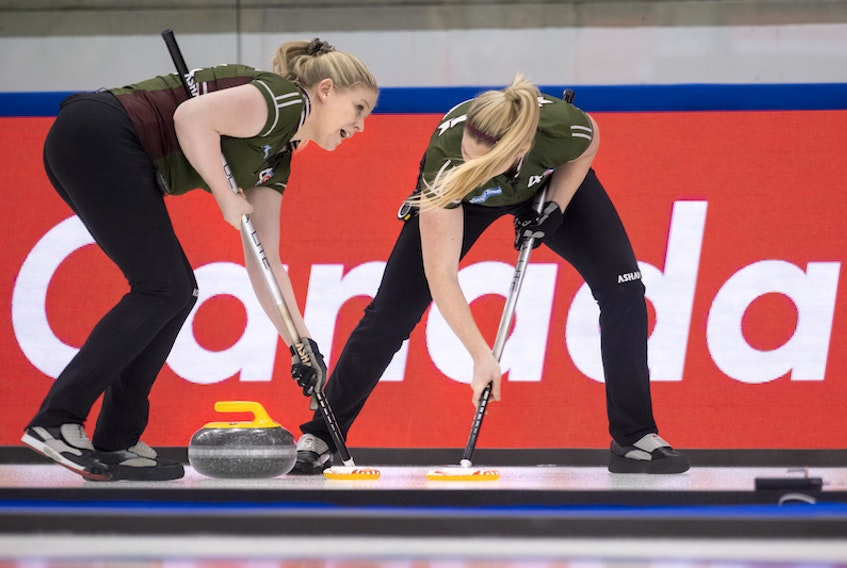 P.E.I. third Marie Christianson and second Meaghan Hughes sweep a rock at the 2021 Scotties Tournament of Hearts in Calgary. P.E.I., which completed round-robin play 4-4 (won-lost), will not advance to the championship pool.