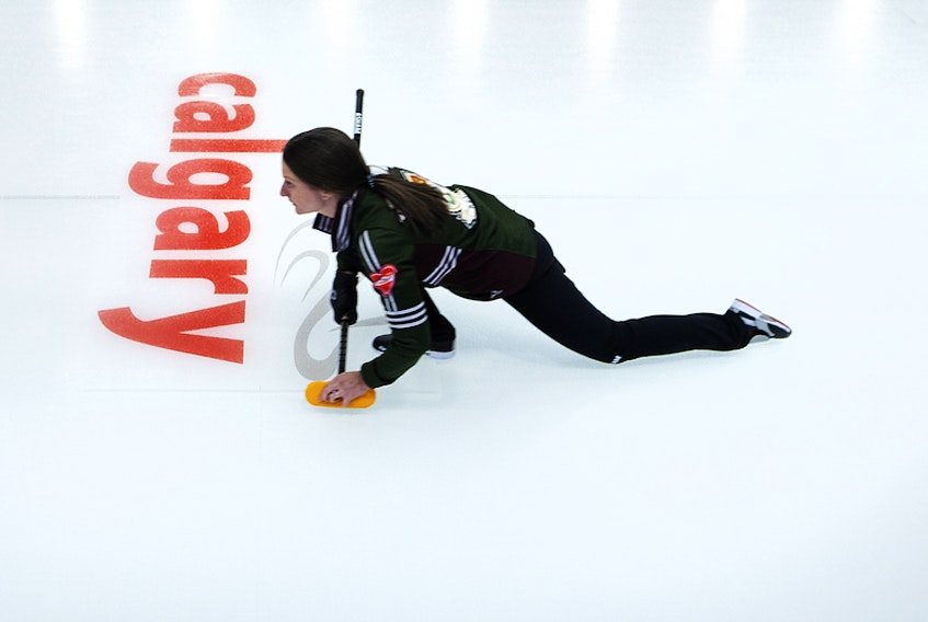 P.E.I. skip Suzanne Birt in action at the 2021 Scotties Tournament of Hearts in Calgary.
