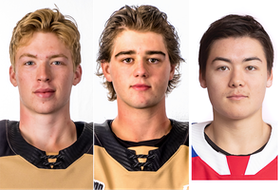 The Videotron Quebec Major Junior Hockey League team of the week included, from left, Colten Ellis, Lukas Cormier and Jordan Spence.