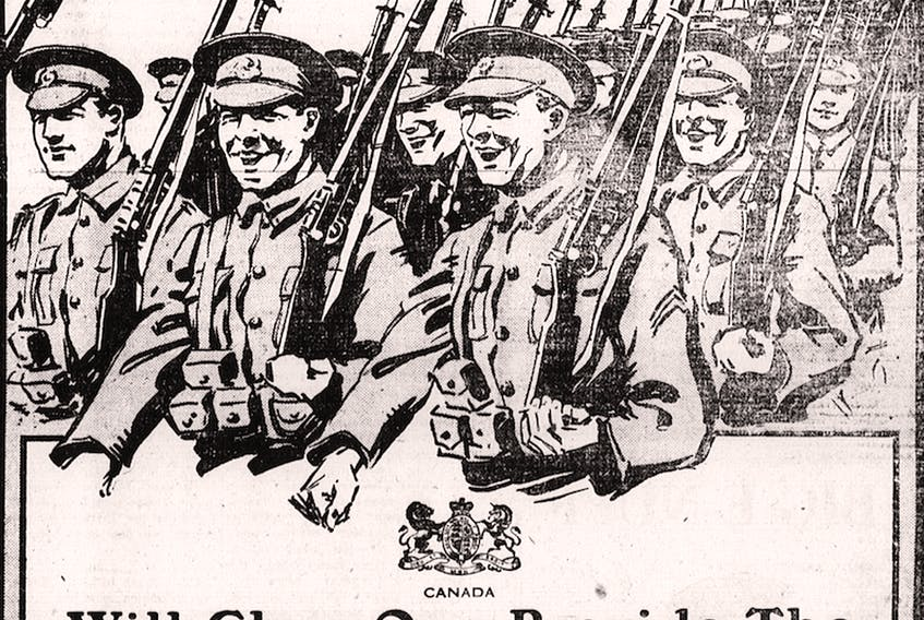 The buoyant imagery of this Dominion government advertisement, carried in The Guardian of Oct. 20, 1917, reflected high hopes for early success in Canada's conscription drive, but initial results were disappointing. On P.E.I., only a few hundred men reported for military service by the Nov. 10 deadline, and, of these, almost 20 per cent sought exemptions from service almost immediately. SUBMITTED PHOTO