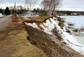 This photo taken Monday shows the latest extent of erosion of the Humber River's banks along Pine Tree Drive in Deer Lake.