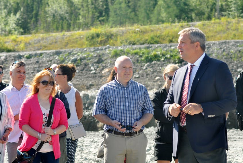 Fisheries and Land Resources Minister Gerry Byrne was surrounded by employees and supporters as he announced the building of a new office building for the department on Wheeler's Road in Corner Brook on Friday.