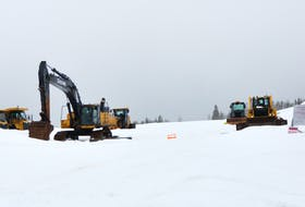 Equipment sits idle on the site of the new hospital and long-term care facility off the Lewin Parkway in Corner Brook. Construction on the long-term care facility is expected to ramp up once the snow goes.