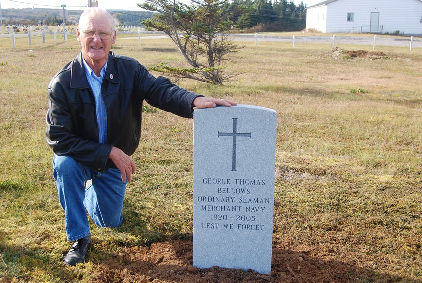 Carl Walsh of Boswarlos is proud of a new military style grave marker that has been placed on the final resting place of his cousin George Bellows at St. James Anglican Church Cemetery in Port au Port East.