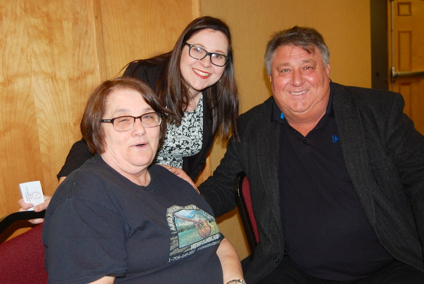 Bob Gosse, right, a board member of the Canadian Council of Aboriginal Business, poses for a photo with Joanann White of Flat Bay, left, and Tara Saunders, a tourism development officer with Qalipu First Nation during the Go Western Newfoundland annual general meeting.