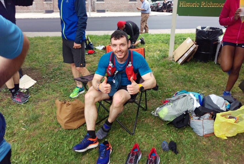 Corner Brook native Mike Russell gives the thumbs up after a recent road race.