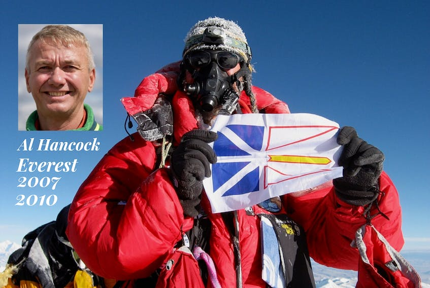 Mountaineer Al Hancock is seen in this handout photo taken when he reached the summit of Mount Everest.