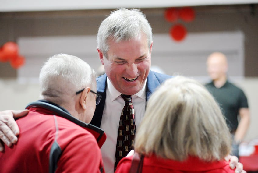 Gerry Byrne, seen here thanking some of his supporters after being declared elected, handily retained his seat as the Liberal legislature member for Corner Brook in Thursday's election.