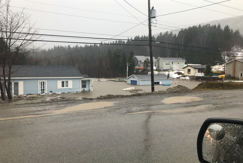 This was what the flooded property of Wally and Yvonne Jesso looked like in Benoit's Cove Saturday.
