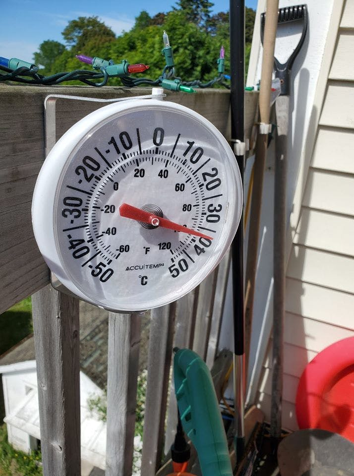 Yes, Nancy Kellar's thermometer is in the sun on her deck in Saint John, NB, but I love the juxtaposition of the extreme temperature and the Christmas lights. By the way, six months from today, Christmas will have passed, and lights and trees will be coming down.