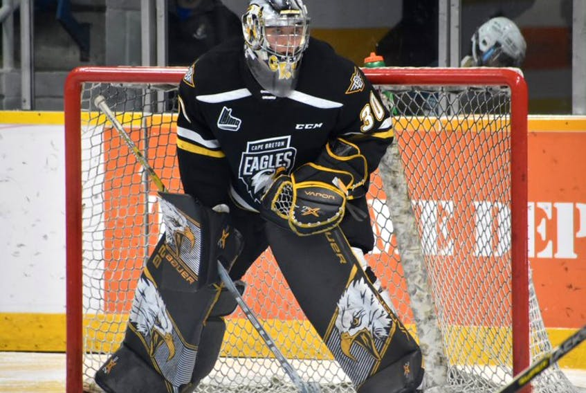 William Grimard of the Cape Breton Eagles watches play during a Quebec Major Junior Hockey League game earlier this season at Centre 200 in Sydney. The 18-year-old is currently the team's No. 1 goaltender with starter Kevin Mandolese out with an injury.