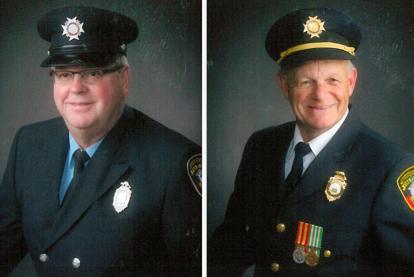 Mike Glover, left, and Marcel Arsenault recently retired from the Summerside Fire Department