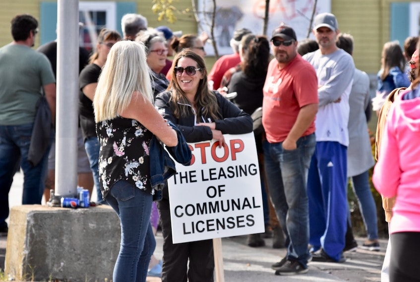 Commercial lobster fishermen and family members held a peaceful protest in Yarmouth on Oct. 2, raising concern over the issue of out-of-season commercial lobster fishing and illegal fishing when lobsters are breeding and moulting. TINA COMEAU PHOTO