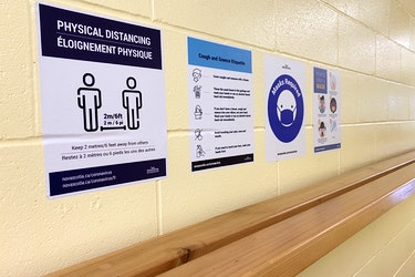Signs of the times in Nova Scotia schools due to COVID-19. TINA COMEAU PHOTO