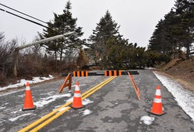 A section of the Main Shore Road in Yarmouth County was impassable on Saturday morning following a windstorm Friday night, Feb. 7. TINA COMEAU PHOTO