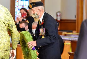 99-year-old Charlie Muise lays a wreath during the Nov. 11 Wedgeport Legion Branch 11, 2020 Remembrance Day service. TINA COMEAU PHOTO