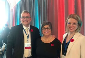 Mayor Pam Mood with outgoing NSFM president Waye Mason and Emily Lutz, the deputy mayor of Kings County, who was elected vice-president of NSFM.