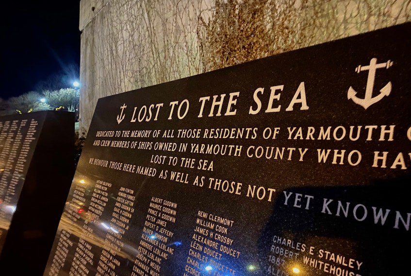 The Lost to the Sea memorial on Yarmouth's Water Street. TINA COMEAU PHOTO