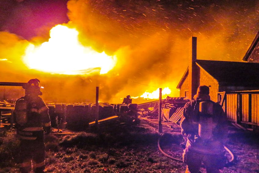 A lobster pound in Middle West Pubnico, Yarmouth County, was destroyed by an overnight fire on Oct. 17.  Numerous fire departments were on the scene throughout the night and early morning. FRANKIE CROWELL PHOTO/WOODS HARBOUR - SHAG HARBOUR VOLUNTEER FIRE DEPARTMENT FACEBOOK PAGE.