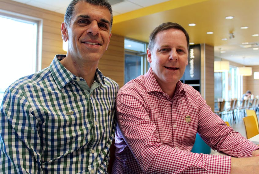 CARLA ALLEN PHOTO Yarmouth businessmen Pierre Jacoub and Pierre Marois now own five McDonald's restaurants on the south shore.