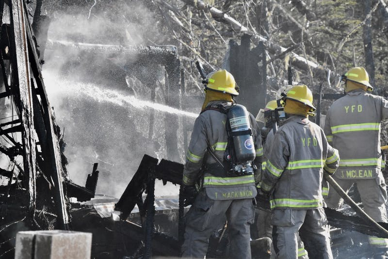 A March 23 brush fire on the Hardwood Hills Road in Melbourne, Yarmouth County, spread to a neighbouring property, destroying a camper trailer that was in the yard of the nearby residence. TINA COMEAU PHOTO