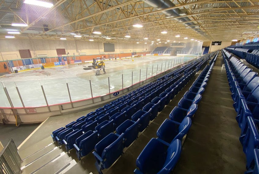 The ice in the Yarmouth Mariners Centre, including here in Arena 1, came out in March after the facility was shut down due to COVID-19. The Mariners Centre board is aiming for Aug. 10 to have ice in Arena 2, the smaller of the two arenas in the facility. TINA COMEAU PHOTO