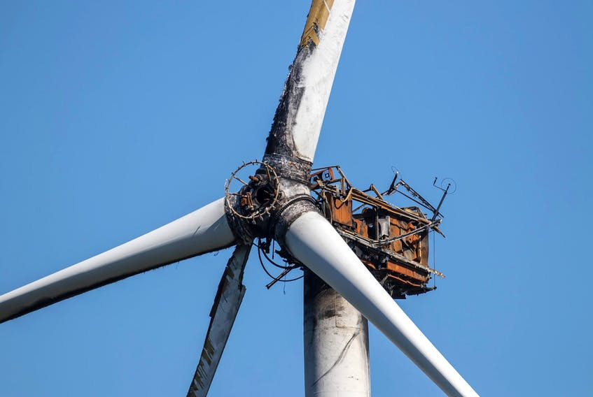 A wind turbine that was destroyed by fire in March will be removed and replaced in September, depending on several variables, says a company spokesperson. Ervin Olsen Photo