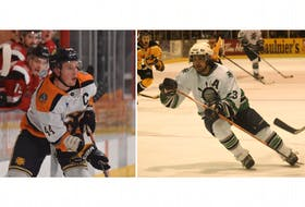 During this 2019-2020 season Matt Barron (left) has broken three 14-year-old Yarmouth Mariners franchise records that were set by former player Justin d'Entremont.