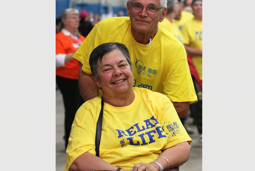 Heather Burlingham, with her friend Felix Dugas, during the 2018 Digby Relay for Life.