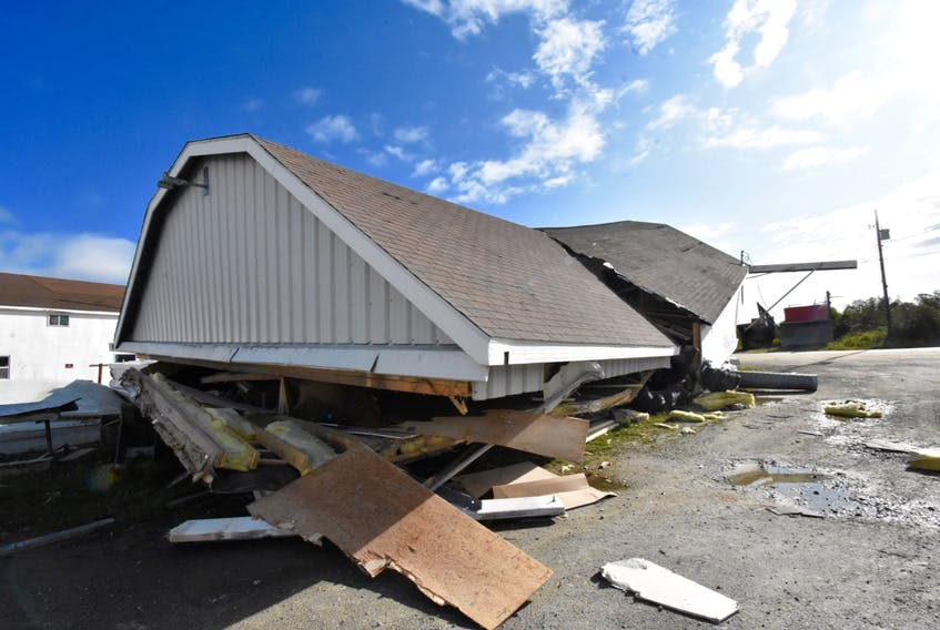 A building was shifted off its foundation at Wedgeport Boat Ltd. from strong winds as a result of the storm Dorian on Sept. 7. TINA COMEAU PHOTO