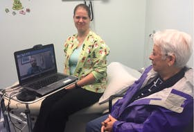 Chantelle Hazelton (LPN) with Mrs. Marie Wheelock during a virtual care appointment.