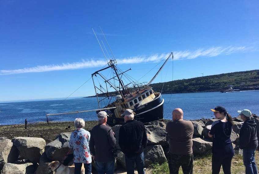 The scallop vessel Digby Challenger grounded on the shoreline of Tiverton, Digby County, in the early morning hours of June 9. AMY TUDOR PHOTO