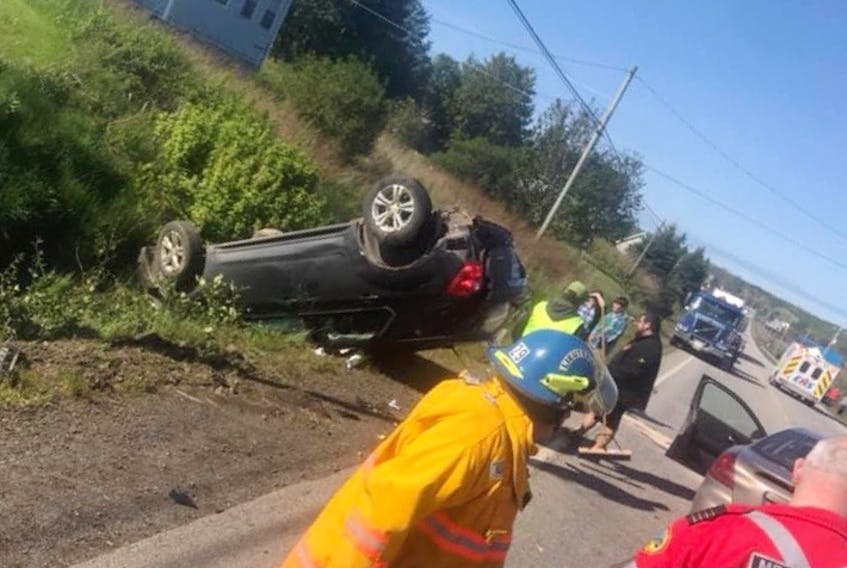 The vehicle that Diane Saulnier and her two daughters were traveling in was struck on its drivers' side as it was turning into a driveway. The vehicle that stuck them was passing other vehicles. The sudden impact caused the vehicle to roll onto its roof in a ditch. PHOTO COURTESY DIANE SAULNIER