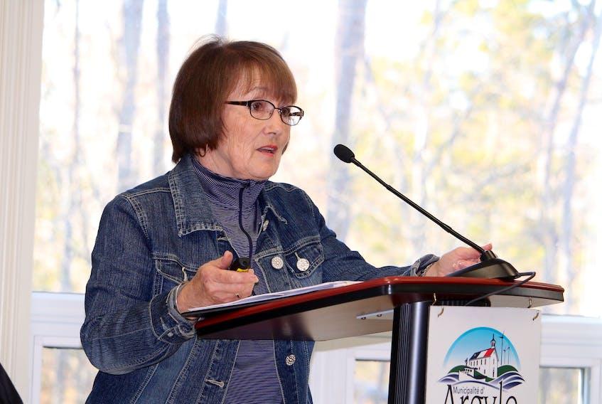 Janine Muise, EMO co-ordinator for the Municipality of Argyle, speaking to Argyle municipal council.