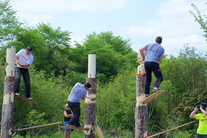 Competitors compete in the springboard chop at the Nova Scotia Lumberjack Championships last year in Truro. This year the event will be held in Barrington on June 16. CONTRIBUTED